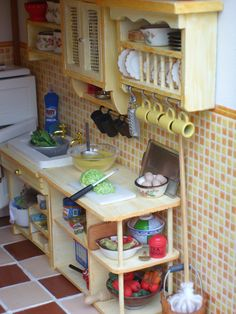 Miniature Kitchen detail Every detail is a must in my dollhouse. Has to look realistic.