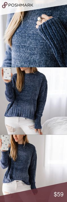 """🆕Blue Chenille Sweater Super soft and plush chenille sweater. Gorgeous Hamptons Blue color. This is a lighter shade of blue than the other sweaters I've sold. You will fall in love with this luxurious material. Premium quality, will keep you warm.  ▫️Material: Poly ▫️Fit: Casual ▫️Chest across: S 24"""" M 25"""" L 26"""" ▫️Length: S 20.5"""" M 21"""" L 21.5"""" ▫️I am modeling S ▫️New  Price is firm, 10% off bundles of 3+  📷Photos are my own own 11thstreet Sweaters Crew & Scoop Necks"""
