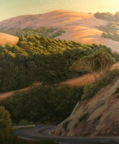 """""""Lucas Valley Drive II"""", 24"""" x 20"""", Marin County, California, Northern California Landscape Painting, original oil painting, country road, scenic road, Marin woods, California golden hills, rolling hills, Terry Sauve, terrysauve.com"""