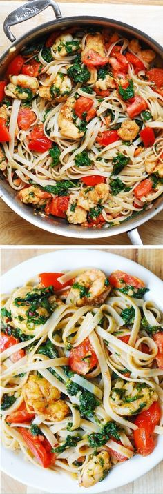 Healthy / Shrimp, tomato, and spinach pasta in garlic butter sauce / Recipe