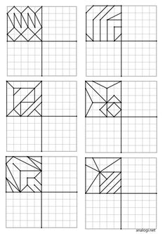 Повтори рисунок по клеточкам | Аналогий нет Graph Paper Drawings, Graph Paper Art, Art Worksheets, Preschool Worksheets, Visual Perception Activities, Teaching Geometry, Quilt Square Patterns, English For Beginners, Mandala Art Lesson