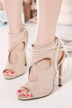 Apricot Cut Out Peep Toe Slingback Lace Up Heels 586db2f50504