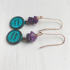 This is the Age of Aquarius!!!  Aquarius Earrings, Aquarius Zodiac, Aquarius Star Sign, Horoscope Earrings, Amethyst Earrings, February Birthstone, Birthday Gifts For Her by MadeByMissM on Etsy