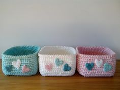 Items similar to Crochet baskets Mint/White/Pink - Storage knit baskets on Etsy