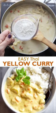 This easy Thai Yellow Curry is made with chicken and vegetables and served over steamed rice. This recipe can easily be made vegan or vegetarian! # Food and Drink dinner videos Yellow Curry Asian Recipes, Mexican Food Recipes, Vegetarian Recipes, Cooking Recipes, Healthy Recipes, Thai Yellow Curry Recipe Vegetarian, Thai Yellow Chicken Curry, Mets, Curry Recipes