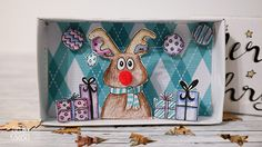 Basteln für Weihnachten: Weihnachtsgrüße aus der Schachtel mit Anleitung und Vorlage | lustige Bastelidee | statt Weihnachtskarte | Rentier | DIY für Weihnachten | kleine Geschenke | Gelbkariert Blog