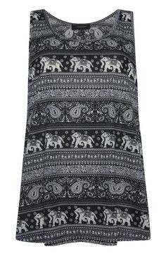 Primark - Schwarzes Top mit Elefanten-Paisley-Muster