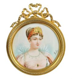 Antique hand painted portrait miniature of Empress Marie-Louise of France.    France, 19th century