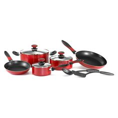 Mirro A796SA Get A Grip Aluminum Nonstick Cookware Set, 10-Piece, Red by Mirro >>> Read more  at the image link.