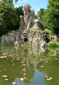 "Statue of ""Appennino"" (1579-1580), a colossal sculpture by Giambologna. At Villa Pratolino, Tuscany, Italy."