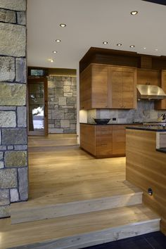Wood and stone kitchen