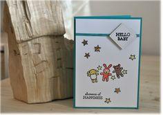 Babykarte / zur Geburt / Glückwunsch / Greeting card / Congratulations on (the birth of) your baby! / mit Umschlag / Sterne / Stars von UKreativezeitreise auf Etsy