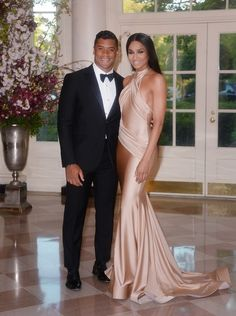 3 Ciara's White House State Dinner Walter Collection Gold Halter Dress