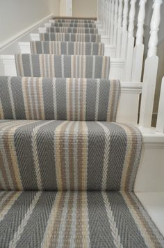 Off The Loom Lintzford 1 - Striped Runner Stairs Carpet Striped Carpet Stairs, Stairway Carpet, Striped Carpets, Hallway Carpet, Bedroom Carpet, D House, House Stairs, Cottage Hallway, Victorian Hallway