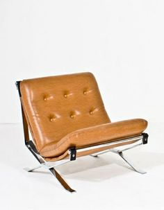 Ico Parisi; Chromed Metal, Leather and Leatherette Lounge Chair for MIM, 1967.