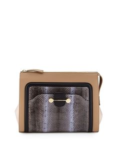 Daphne Watersnake & Leather Clutch Bag, Birch (Brown), Women's - Jason Wu