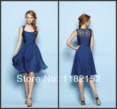 2014 newest design simple sexy royal blue boat neck a-line knee length lace back short chiffon Bridesmaid Dresses party dresses US $106.00