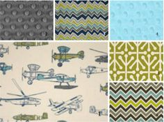 crib bedding set in vintage airplanes including colors blue, green, and gray on Etsy, $17.00
