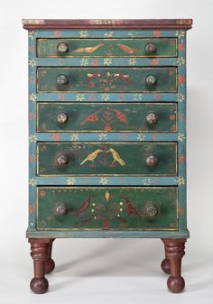 Miniature Mahantongo Chest of Drawers, Centre County, Pennsylvania, 1842 - SOLD Furniture Update, Small Furniture, Funky Furniture, Miniature Furniture, Dollhouse Furniture, Furniture Ideas, Painting Antique Furniture, Hand Painted Furniture, Paint Furniture
