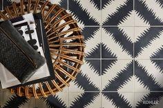 ANN SACKS® Paccha tile The vibrant design of this floor tile creates a sense of movement, setting the foundation for a tasteful yet energetic space. Boise Boys, Boy Bath, Bold Wallpaper, Geometric Wall, Home Reno, Bathroom Flooring, Design Elements, Stone, Sacks