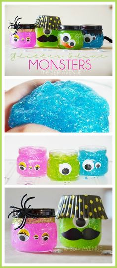 Felt Mask Embroidery Design #Halloween DIY Slime Monsters... These are so fun and kids love them! Glitter Slime Recipe and Tutorial at the36thavenue.com