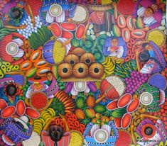 Guatemalan Art.  Love this colorful, happy, birds-eye view artwork.