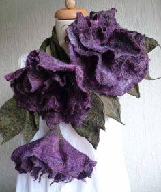 felted wool flower leaf necklace, scarf, lariat, plus brooch, corsage, felt, handmade, sparkle in purple, MADE TO ORDER, lagenlook
