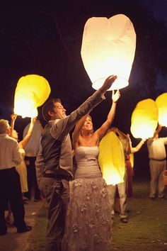 Wedding Wish Lanterns, Bride & Groom, Yellow and White