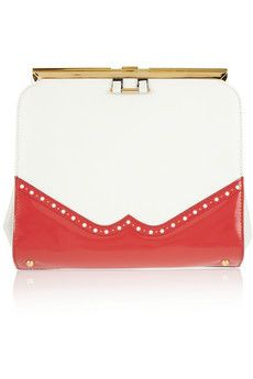 marni white + red statement clutch. LOVE a spectator pattern!!
