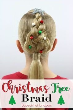For an easy Christmas hairstyle, try this cute Christmas Tree Braid from BabesIn… - Hair Styles Box Braids Hairstyles, Braided Hairstyles Tutorials, African Hairstyles, Easy Hairstyle, Hairdos, Gown Hairstyles, Wedding Hairstyles, Hair Tutorials, Cute Hairstyles For Kids