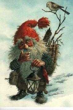 Julekort Kjell Midthun (Aune) 'Gammel-nisse m stjertmeis' - Selges av Ymer_186515 fra Ørskog på QXL.no