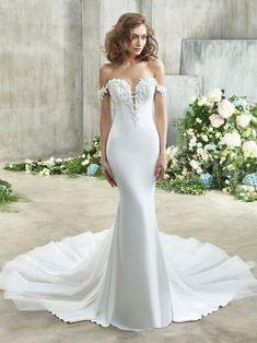 Emory Front Mermaid Dresses, Bridal Dresses, Girls Dresses, Monique Lhuillier, Bridal Collection, Dress Collection, Badgley Mischka Bridal, Wedding Dress Silhouette, Column Dress