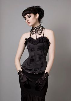 Black Satin Overbust CorsetSmall Sample Sale by decadentdesignz, $120.00