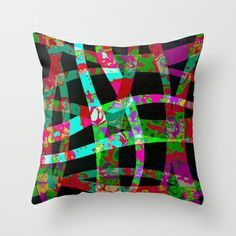 colored ribbon Throw Pillow by clemm - $20.00