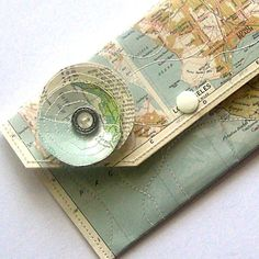 Vinyl and paper map wallet