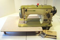 Vintage Bernina 540-2. This cute Bernina was produced in the late 1950s and early 1960s. It weighs 33 lbs and like an industrial machine, it can sew through anything. Super cool, two-toned, avocado green paint job.
