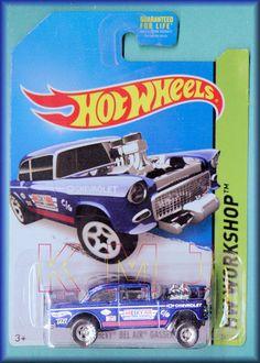 "Hot Wheels 2014 - Collector # 241 - ""HIDDEN"" $uper Trea$ure Hunt$ - '55 CHEVY BEL AIR GASSER - Blue - USA Long Card! (I collect these)"