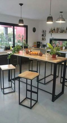 Muebles de acero Steel Furniture, My Furniture, Industrial Furniture, Rustic Furniture, Furniture Design, Log Home Kitchens, Wood Shelving Units, Cafe Interior, Küchen Design