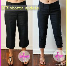 meggipeg: Refashion flared pants into skinny cuffed capris - a tutorial
