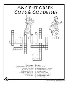 Greek Mythology Worksheets Greek Mythology Crossword Puzzle – Classroom Jr.