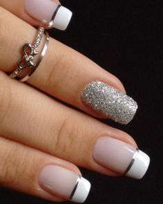 Unhas para o Ano Novo! Gel Uv Nails, French Manicure Nails, French Tip Nails, Toe Nails, Pink Nails, Acrylic Nails, French Manicure Designs, Elegant Nail Designs, Elegant Nails