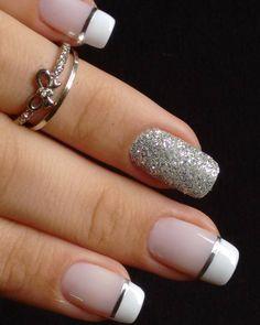 Unhas para o Ano Novo! French Manicure Nails, French Tip Nails, Gold Nails, Pink Nails, Elegant Nails, Elegant Nail Designs, Nail Art Designs, Nail Deco, French Gel