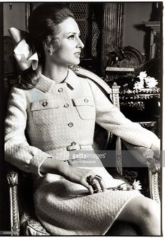 Baroness Wiltraud von Furstenberg seated in a Louis XVI (Empire) chair, wearing tweed suit by Mainbocher; photographed in a New York apartment. Photo by Alexis Waldeck. Tweed Suits, Louis Xvi, Von Furstenberg, Vogue, Lady, York Apartment, How To Wear, Image, 1960s