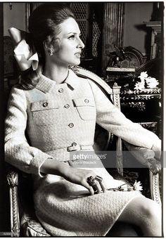 Baroness Wiltraud von Furstenberg wearing tweed suit by Mainbocher; Vogue, 1968