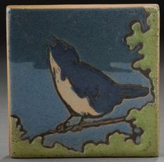 """Saturday Evening Girls / Paul Revere Pottery (Decorated by Albina Mangini, Boston, Massachusetts). Hand-Painted Art Pottery Tile. Early 20th Century. 3"""" x 3""""."""