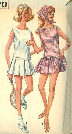 Vintage Sewing Pattern 1960s Simplicity 5970 Misses Tennis Dress & Panties Bust 32 by SewMrsP