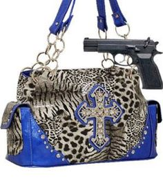 Blue Leopard Print Cross Conceal and Carry Purse with Rhinestones - Handbags, Bling & More!