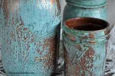 mason jar copper blue patina-- Metal Effects Primer, Metal Effects Copper Paint, and Metal Effects Blue Patina Aging Solution. Mason Jars, Bottles And Jars, Mason Jar Crafts, Arts And Crafts, Diy Crafts, Metal Crafts, Paperclay, Diy Décoration, Crafty