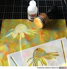 Carved Flowers Stencil Cards Alcohol Ink Lift technique with Darkroom Door Carved Flowers stencil Alcohol Ink Glass, Alcohol Ink Crafts, Alcohol Ink Painting, Embroidery Designs, Homemade Alcohol, Kid Ink, Colouring Techniques, Marianne Design, Paisley