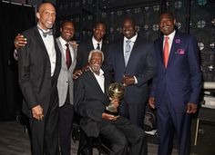 NEW YORK, NY - JUNE 26: (L-R) NBA legends   Kareem Abdul-Jabbar, Alonzo Mourning, David Robinson, NBA Lifetime Achievement Award Winner Bill Russell, Shaquille O'Neal, and Dikembe Mutombo pose backstage during the 2017 NBA Awards Live on TNT on June 26, 2017 in New York, New York. 27111_002  (Photo by Kevin Mazur/Getty Images for TNT) via @AOL_Lifestyle Read more: https://www.aol.com/article/news/2017/06/27/bill-russell-trash-talk-NBA-awards/23004191/?a_dgi=aolshare_pinterest#fullscreen